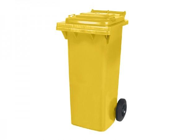 Conteneur à déchets sur 2 roues - 80 litres - jaune