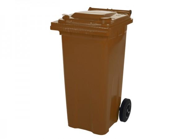 Conteneur à déchets sur 2 roues - 120 litres - brun