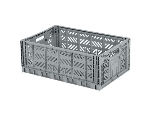 Caisse pliante en plastique - 600x400xH220mm - gris - poignées grises