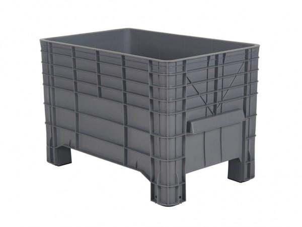 Caisse-palette en plastique - 1040x640mm - sur 4 pieds - gris