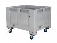 Caisse-palette en plastique - 1200x1000mm - sur roues - gris