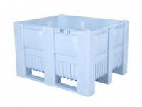 Caisse-palette en plastique - 1200x1000mm - 3 semelles - bleu clair 83281300