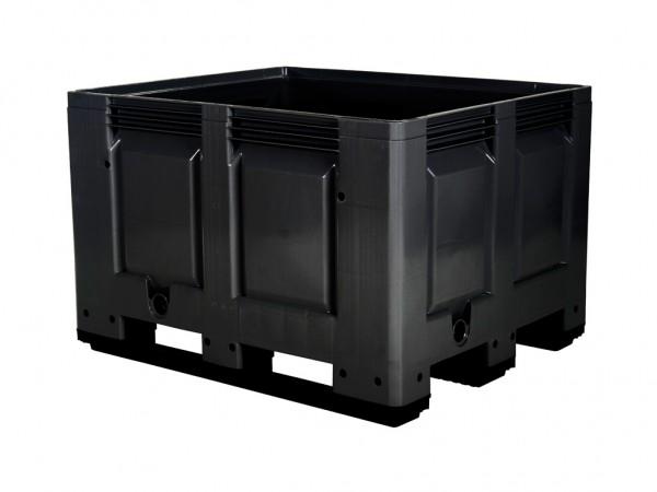 Caisse-palette en plastique - 1200x1000mm - 3 semelles - noir