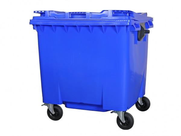 Conteneur à déchets sur 4 roues - 1100 litres - couvercle plat - bleu