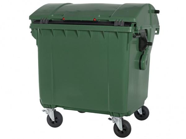 Conteneur à déchets sur 4 roues - 1100 litres - couvercle bombé - vert