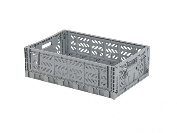 Caisse pliante en plastique - 600x400xH180mm - gris - poignées grises