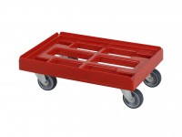 Chariot de transport rouge - 600x400mm - chapes galvanisées 52.TR6040.4.E