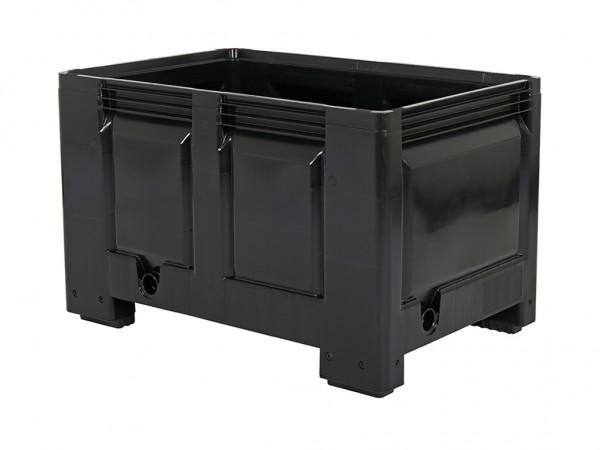 Caisse-palette en plastique - 1200x800mm - sur 4 pieds - noir
