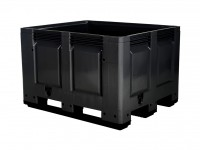 Caisse-palette en plastique - 1200x1000mm - 3 semelles - noir 4401.300.930